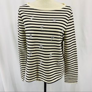 Betsey Johnson Skulls and Bolts Embroidered Stripe